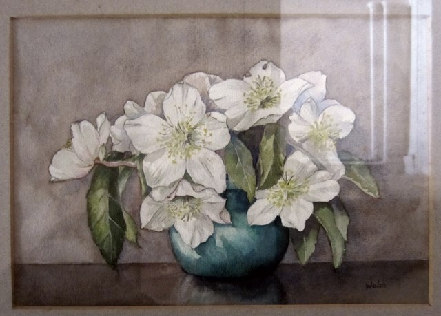 Early painting of white flowers in a vase by Wendy Walsh