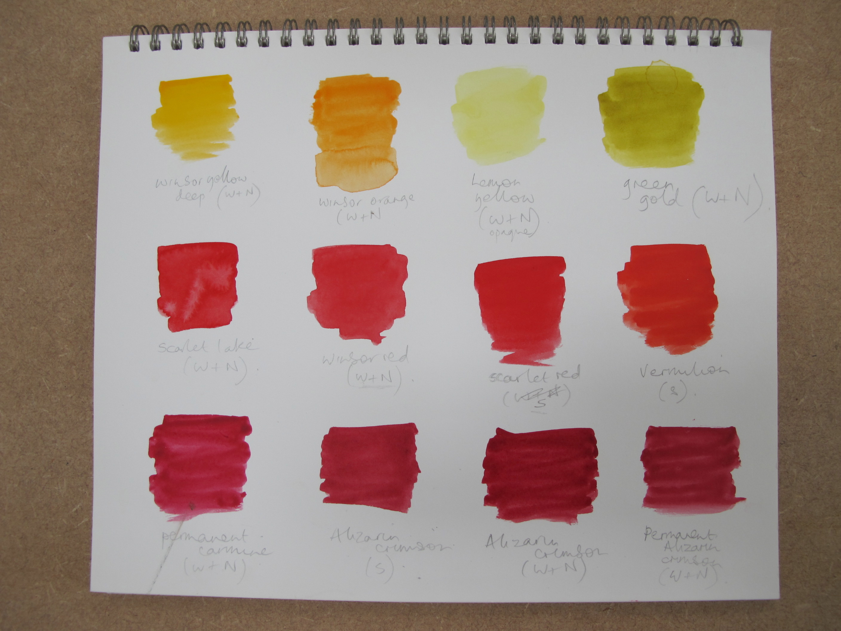 Holly's sketchbook of colour charts