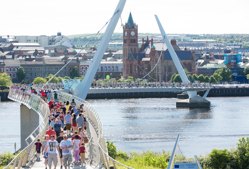 The Guildhall and the Peace Bridge, Derry